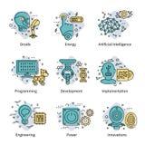 L'intelligenza artificiale ha colorato l'insieme dell'icona illustrazione vettoriale