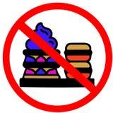 L'interdiction non permise de biscuits, de crème, douce et belle de macaron de dessert panneau routier rouge de cercle solated su Photo libre de droits