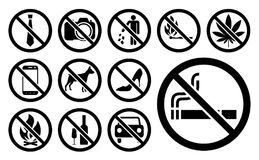 L'interdiction signe l'ensemble de noir Illustration de vecteur Image stock