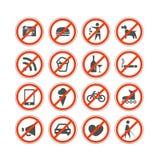 L'interdiction urbaine signe la collection Images libres de droits