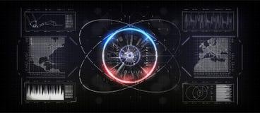 L'interfaccia del futuro, analizzatore dell'impronta digitale, ha aumentato l'interfaccia della realtà Illustrazione di vettore illustrazione vettoriale