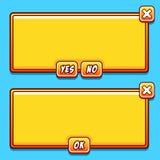 L'interfaccia gialla del gioco riveste i bottoni di pannelli di ui Fotografia Stock Libera da Diritti