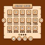L'interfaccia a menu di legno del gioco riveste i bottoni di pannelli Fotografie Stock