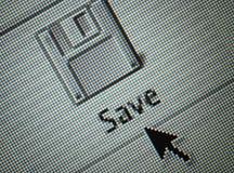 L'interfaccia salva il tasto e un mouse c della freccia Fotografie Stock