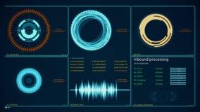 l'interfaccia utente di Ciao-tecnologia dirige l'esposizione per la visualizzazione da tavolino del computer del fondo Visualizza royalty illustrazione gratis