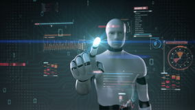 L'interface utilisateurs émouvante de cyborg de robot, affichage numérique, élèvent l'intelligence artificielle