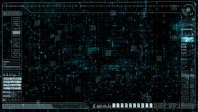 L'interface utilisateurs futuriste numérique de pointe HUD et la matrice font signe le fond illustration de vecteur