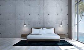 L'interior design della camera da letto di minimi ed il muro di mattoni bianco strutturano il fondo Fotografia Stock Libera da Diritti