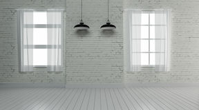 L'interior design industriale e la decorazione 3d rendono Fotografie Stock