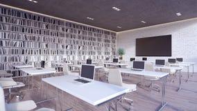L'interior design moderno 3d dell'aula rende fotografia stock libera da diritti