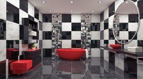 3d Che Rende Bagno Nero Moderno Con La Decorazione Di Lusso Delle