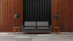 L'interior design moderno del salone del sottotetto, il sofà nero con la parete nera e di legno /3d rendono Fotografia Stock Libera da Diritti