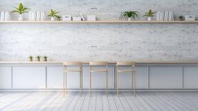 L'interior design moderno del sottotetto, il sofà bianco e la lampada nera sul muro di mattoni, 3d rendono Fotografia Stock