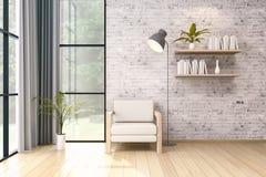 L'interior design moderno del sottotetto, la sedia bianca e la lampada nera sul muro di mattoni, 3d rendono Immagini Stock