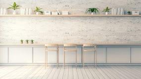 L'interior design moderno del sottotetto, lo sgabello da bar di legno ed il muro di mattoni bianco progettano, stile d'annata, 3d Fotografia Stock
