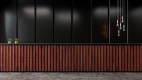 L'interior design moderno dell'ingresso del sottotetto, la parete scura e la vecchia contro barra di legno /3d rendono Immagine Stock