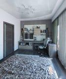 L'interior design moderno della camera da letto, 3d rende Immagini Stock