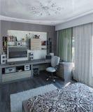 L'interior design moderno della camera da letto, 3d rende Immagine Stock