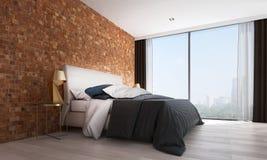L'interior design moderno della camera da letto ed il muro di mattoni rosso modellano la vista della città e del fondo Immagine Stock