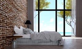 L'interior design moderno della camera da letto ed il muro di mattoni rosso modellano la vista del mare e del fondo Fotografie Stock Libere da Diritti
