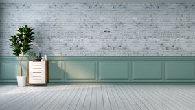 L'interior design moderno della stanza, il sofà blu del tessuto sulla pavimentazione di marmo ed il blu con la parete nera /3d de Immagine Stock