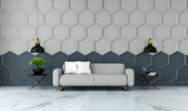 L'interior design moderno della stanza, il sofà grigio del tessuto sulla pavimentazione di marmo ed il gray con la parete nera /3 Immagini Stock