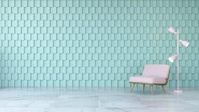 L'interior design moderno della stanza, la sedia rosa sul pavimento di marmo e la parete quadrata verde, 3d rendono Immagini Stock Libere da Diritti