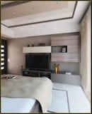 L'interior design moderno di stile della camera da letto, 3D rende Fotografia Stock