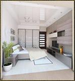 L'interior design moderno di stile della camera da letto, 3D rende Fotografie Stock Libere da Diritti