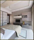 L'interior design moderno di stile della camera da letto, 3D rende Immagini Stock
