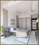 L'interior design moderno di stile della camera da letto, 3D rende Fotografie Stock
