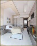 L'interior design moderno di stile della camera da letto, 3D rende Immagini Stock Libere da Diritti