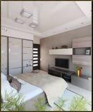 L'interior design moderno di stile della camera da letto, 3D rende Illustrazione Vettoriale