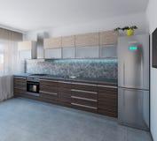L'interior design moderno di stile della cucina, 3D rende Fotografia Stock