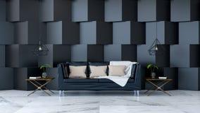 L'interior design verde, la stanza vuota con la pianta sulla pavimentazione di legno e la parete verde scuro /3d rendono Fotografie Stock