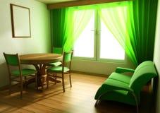 L'interiore all'indicatore luminoso modifica la finestra la tonalità della tabella del sofà Fotografie Stock Libere da Diritti