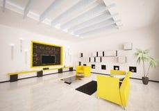 L'interiore del salone moderno 3d rende Fotografie Stock Libere da Diritti