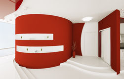 L'interiore dell'atrio bianco rosso 3d rende illustrazione di stock