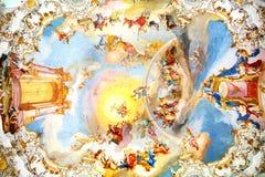 L'interiore lussuoso della chiesa Wieskirche Fotografia Stock