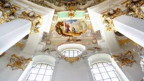 L'interiore lussuoso della chiesa Wieskirche fotografia stock libera da diritti