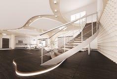 L'interiore moderno del salone 3d rende illustrazione vettoriale