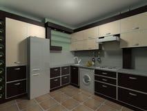 L'interiore moderno della cucina rende Fotografie Stock Libere da Diritti
