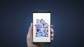 L'Internet émouvant de l'icône futée d'appareils ménagers de choses fait la forme à la maison dans le téléphone intelligent, mobi illustration de vecteur