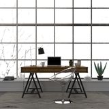 L'interno alla moda di un Ministero degli Interni con una sedia trasparente Fotografia Stock