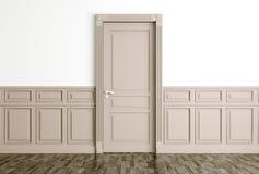 L'interno con la porta beige classica 3d rende Fotografie Stock Libere da Diritti