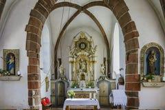 L'interno del Saint Nicolas di Eglise Fotografie Stock Libere da Diritti