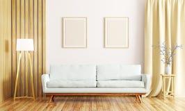 L'interno del salone con il sofà 3d rende Immagini Stock Libere da Diritti