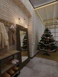 L'interno del sottotetto del nuovo anno, l'albero di Natale, 3D rende Fotografie Stock