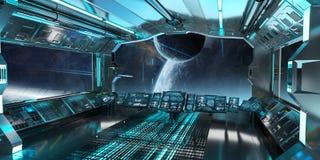 L'interno dell'astronave con la vista sul sistema distante 3D dei pianeti rende Fotografia Stock