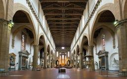 L'interno della basilica di Santa Croce a Firenze Immagini Stock Libere da Diritti